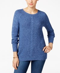 Karen Scott Cable Knit Crew Neck Sweater Only At Macy's Navy Marl
