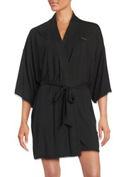 Calvin Klein Lace Trim Jersey Short Robe Black