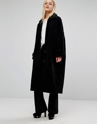 Monki Longline Cord Coat Black