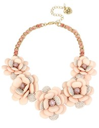 Betsey Johnson Crystal And Faceted Stone Flower Necklace Pink