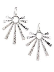 Nest Hammered Sunburst Drop Earrings Silver