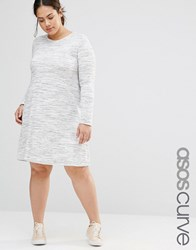 Asos Curve Casual Swing Dress In Space Dye Multi