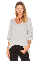 Three Dots Willa Slouchy V Neck Sweater Gray