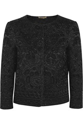 Alberta Ferretti Beaded Silk Covered Macrame Wool Jacket Black