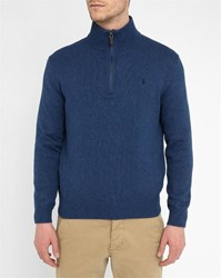 Polo Ralph Lauren Mottled Blue Cotton Zip Collar Sweater