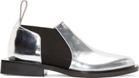 Paco Rabanne Silver Leather Square Heel Slip On Oxfords