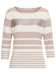 Betty Barclay Embellished Stripe Top Beige Cream