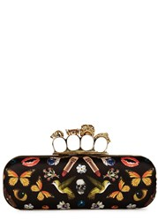 Alexander Mcqueen Obsession Printed Satin Knuckle Box Clutch Multicoloured