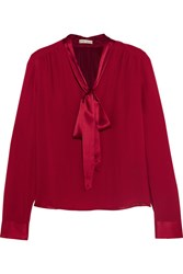 Alice Olivia Irma Silk Georgette Pussy Bow Blouse Claret