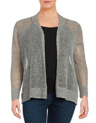 Eileen Fisher Plus Open Front Knit Cardigan White