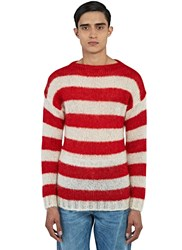 Gucci Striped Mohair Knit Sweater Red