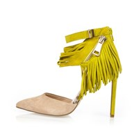 River Island Womens Yellow Suede Tassel Heels
