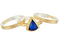 Anna Beck Lapis Triplet Set Of 3 Stacking Rings Gold Silver Ring