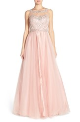 Women's Sean Collection Embellished Mesh Ballgown Rose