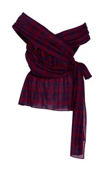 Tanya Taylor Draped Plaid Phoebe Blouse Red