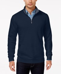 Club Room Men's Big And Tall Quarter Zip Sweater Only At Macy's Navy Blue