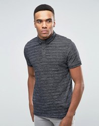 Jack And Jones Polo Shirt With Contrast Collar Fleck Detail Black