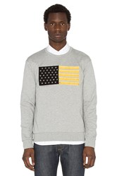 Palm Angels Flag Embroidery Crewneck Sweatshirt Gray