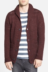 Nudie Jeans 'David' Wool Shawl Collar Cardigan Purple