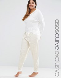 Asos Curve Lounge Drapey Drop Shoulder Top And Stripe Legging Set Stripe Cream