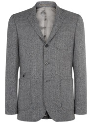 Jaeger Herringbone Tweed Wool Slim Blazer Grey Melange