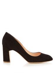 Rupert Sanderson Bertha Block Heel Suede Pumps Black