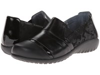 Naot Footwear Miro Black Lace Nubuck Metallic Road Leather Black Madras Leather Jet Women's Flat Shoes