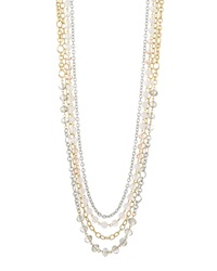 Lydell Nyc Elongated Multilayer Bead Necklace Pink Gray