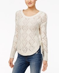 American Rag Lace Up Diamond Stitch Sweater Only At Macy's Egret Combo