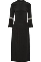 Vilshenko Dawn Pleated Embroidered Crepe Dress Black