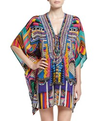 Camilla Embellished Lace Up Silk Caftan Coverup Woven Wonderland