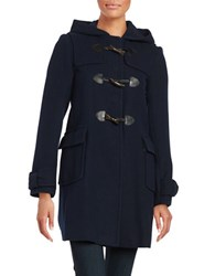Kate Spade Hooded Wool Blend Mid Length Toggle Coat Navy
