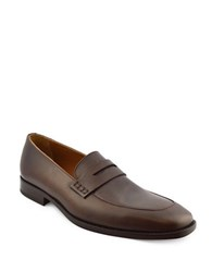 Bruno Magli Tosca Penny Slot Leather Loafers Dark Brown