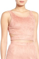 Women's Missguided Faux Suede Tie Back Crop Top
