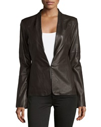 Halston Heritage Knit Panel Leather Blazer Earth