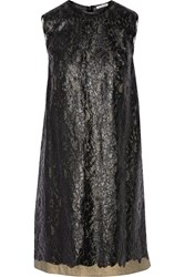 Tomas Maier Layered Metallic Coated Cotton Lace Dress Black