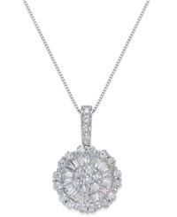 Macy's Diamond Daisy Pendant Necklace 1 1 4 Ct. T.W. In 14K White Gold