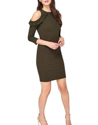 Miss Selfridge Cold Shoulder Sheath Dress Olive Green