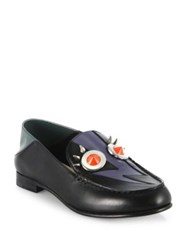 Fendi Faces Studded Leather Loafers Black