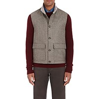Luciano Barbera Men's Houndstooth Walking Vest Tan