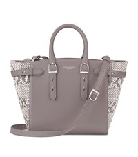 Aspinal Of London Snake Print Midi Marylebone Tote Unisex Grey