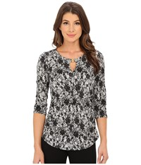 Vince Camuto 3 4 Sleeve Lace Print Keyhole Top With Hardware Antique White Women's Clothing