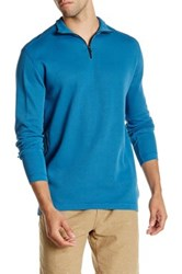 Agave Perry Long Sleeve Zip Mock Neck Flat Back Pullover Blue