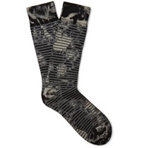 Marcoliani Patterned Pima Cotton Blend Socks Black