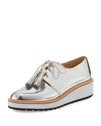 Loeffler Randall Callie Leather Demi Wedge Oxford Silver