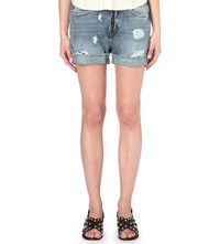 The Kooples Distressed Denim Shorts Middle Blue