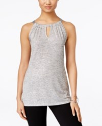Inc International Concepts Petite Shine Halter Tank Top Only At Macy's Silver