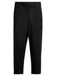 Oamc Cropped Wool Trousers Navy