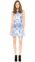 Notte By Marchesa Sleeveless Printed Organza Cocktail Dress Royal