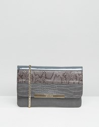 Dune Studded Clutch Bag Grey Reptile